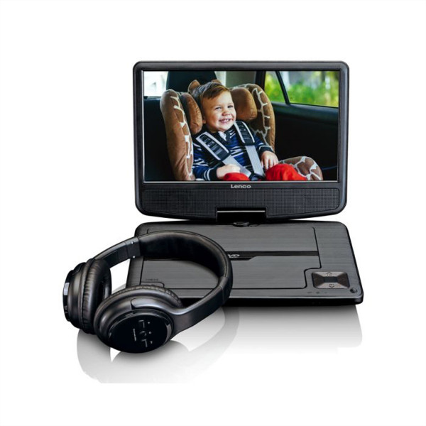 "LENCO DVP-947, portabler DVD Player, 9"", schwarz, USB, Car Charger, Headphone"
