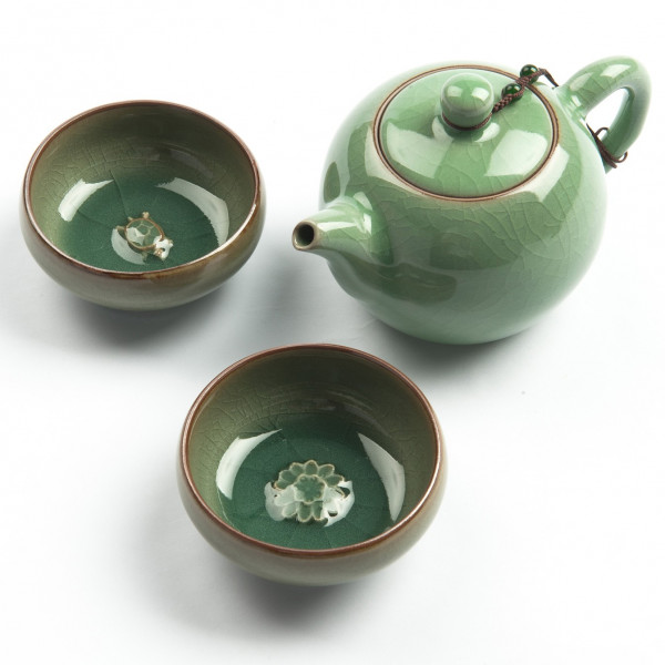 """Chinesisches Gongfu Cha Teeservice """"Charms"""" aus Seladon, 3tlg"""
