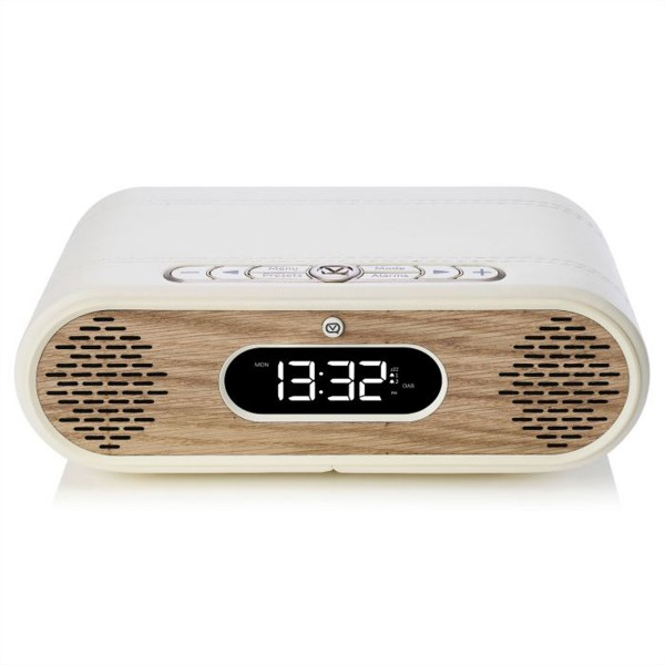 VQ Rosie Lee DAB+Radio, cream Leder, eiche, BT, Wecker, USB, 2x 5W