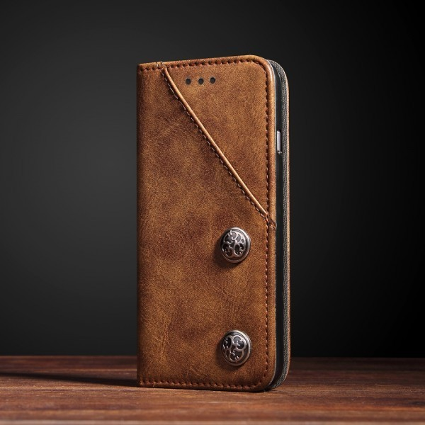 Calitron iPhone X Leder Etui Retro Look Braun
