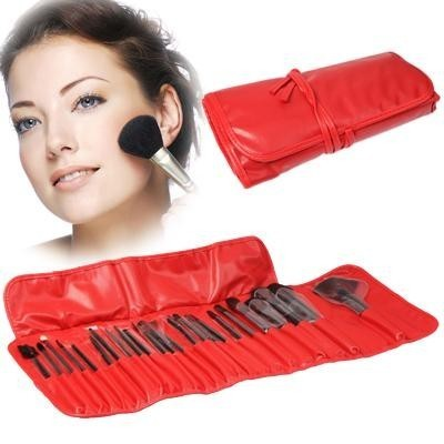 Calitron Makeup Pinsel Set 24 Teile inkl. Etui in Rot