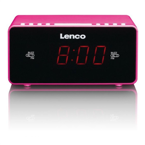 "LENCO CR-510 Radiowecker 0.9"" pink, FM Radio, Dual Alarm, Aux, LED"