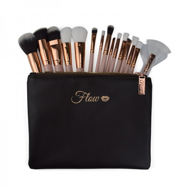 Flow Makeup Pinsel Set 15 Teile Nude Gold inkl. Etui