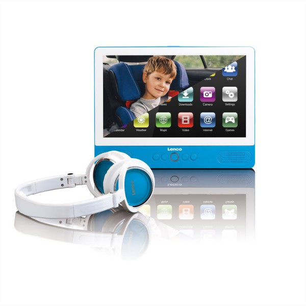"LENCO TDV-901 DVD Player & Tablet 9"" portabel, WiFi, Android, 1024x600, blau"