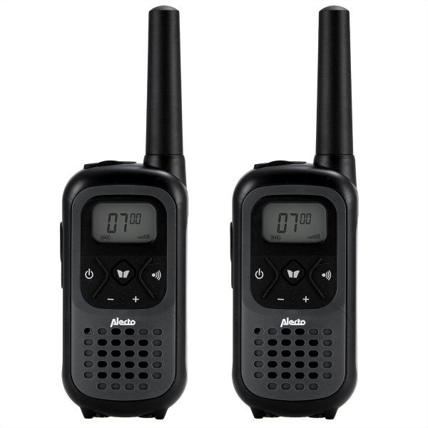 ALECTO Walkie Talkie FR-200 schwarz, 7km, 13h Batterie, 16 Sender, Display