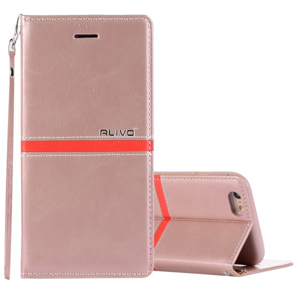 iPhone 6 6S Lederetui Case Rose Gold
