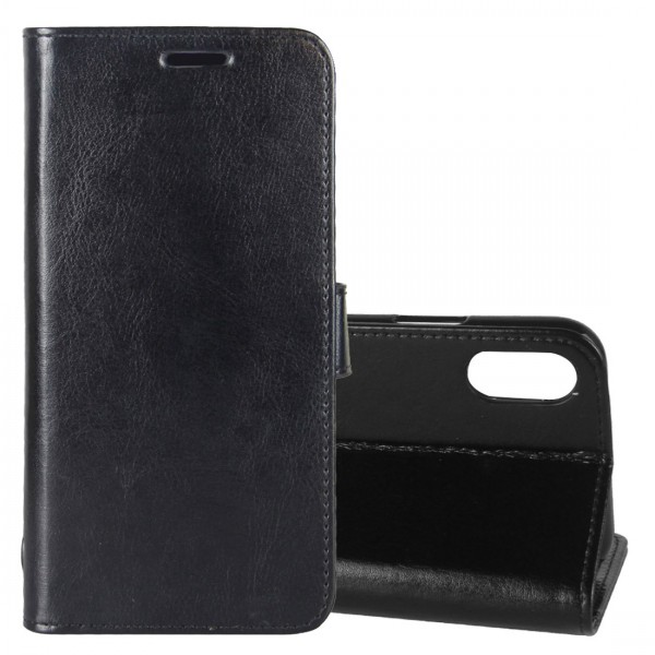Calitron iPhone X Leder Etui Schwarz