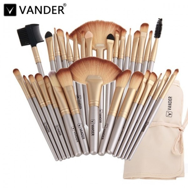 VANDER Pinselset 32 Makeup Pinsel Champagne Gold