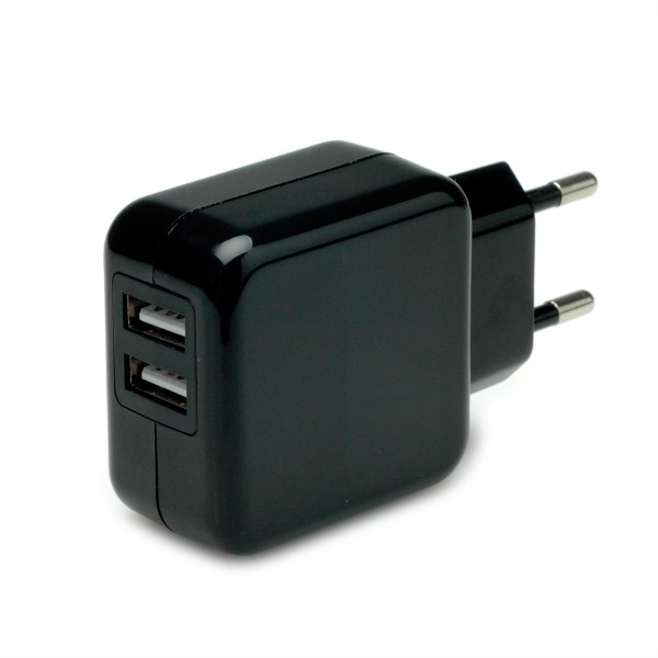 VALUE USB Charger mit Euro-Stecker, 2 Port, 10W