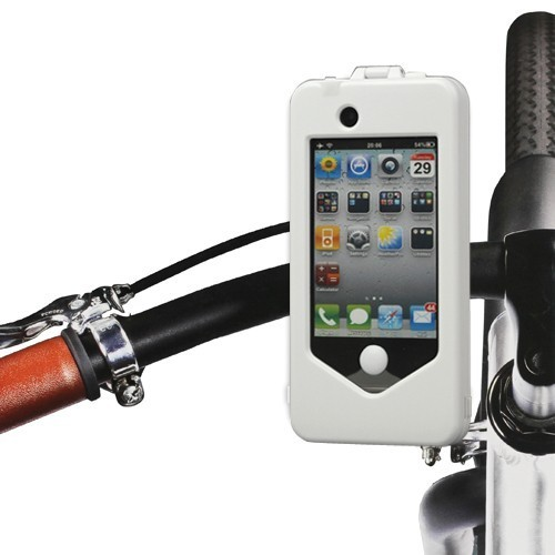 iphone 4 4s bike fahrrad velo halterung wasserfest weiss. Black Bedroom Furniture Sets. Home Design Ideas