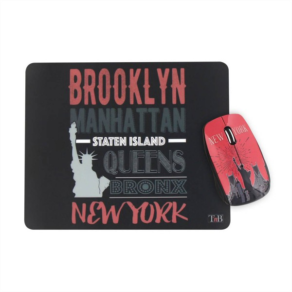 T'nB NEW YORK CITY Design Bundle wireless Maus + Mausmatte