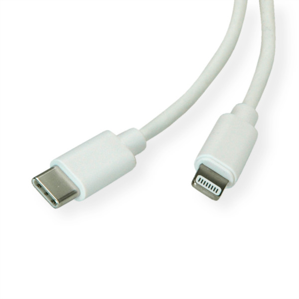ROLINE USB Sync- & Ladekabel, Typ C / Lightning Connector, weiß, 1 m