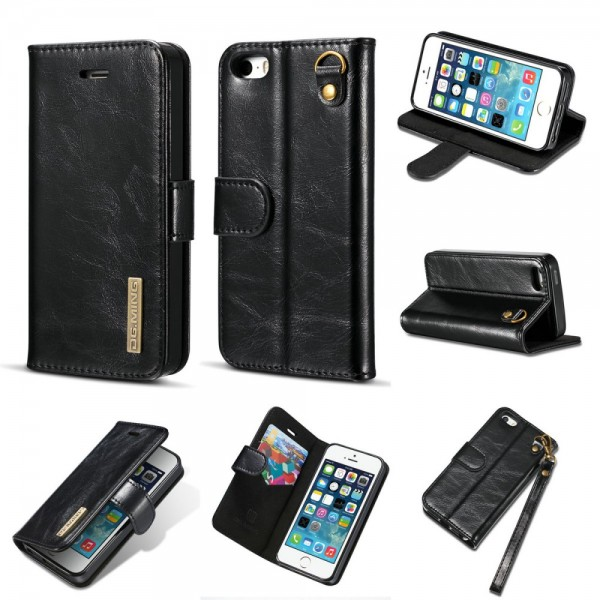 iPhone 5, iPhone SE Etui Lederetui 2 in 1 schwarz