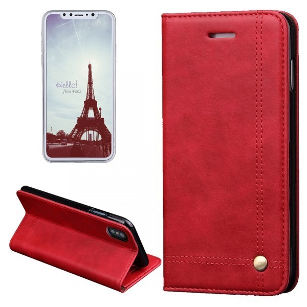 Calitron iPhone X Leder Etui Rot